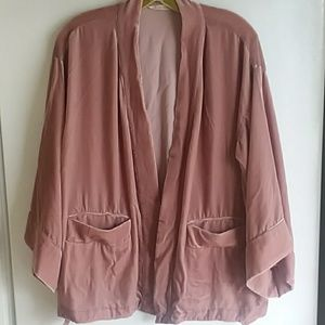 1X Soft Surroundings Open Front Velvet Pink Jacket